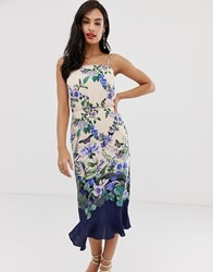 Oasis Cami Midi Dress With Square Neck In Floral Print Multi