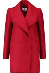Carven Double Breasted Wool Blend Twill Coat Red