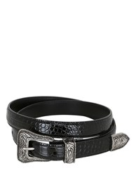 Saint Laurent 20Mm Embossed Leather Western Belt