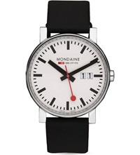 Mondaine A627.30303.11Sbb Evo Gents Big Size Stainless Steel And Leather Watch White
