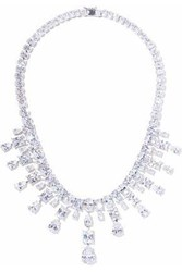 Cz By Kenneth Jay Lane Woman Silver Tone Crystal Necklace Silver