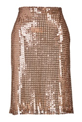 Marios Schwab Sequined Pencil Skirt Gold