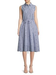Molly Bracken Pinstripe Cotton Dress Blue
