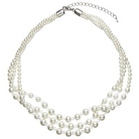 John Lewis Three Row Graduating Faux Pearl And Bead Twist Necklace White Clear