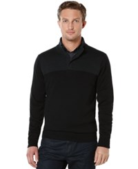 Perry Ellis Colorblocked Quarter Zip Sweater Charcoal Heather