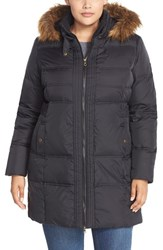 Plus Size Women's Larry Levine Hooded Down And Feather Fill Coat With Faux Fur Trim Black