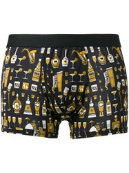 Dolce And Gabbana Jazz Club Print Boxer Shorts Black