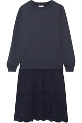 Clu Mix Media Broderie Anglaise Paneled Cotton Jersey Dress Navy