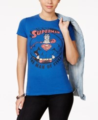 Bioworld Warner Brothers Juniors' Superman Graphic T Shirt Blue