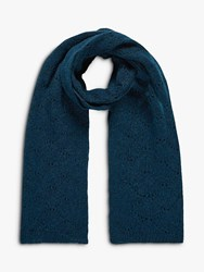 Brora Cashmere Pointelle Scarf Teal