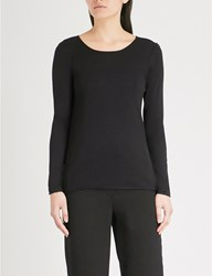 The White Company Fine Knit Silk And Cotton Blend Top Black