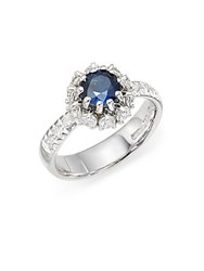 Roberto Coin Sapphire Diamond And Platinum Prong Set Ring Blue