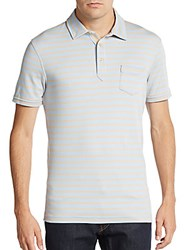 Saks Fifth Avenue Black Slim Fit Striped Pima Cotton Polo Shirt Hummus