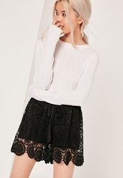 Missguided All Over Lace Tie Waist Short Black Black
