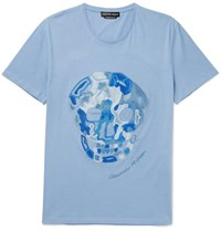 Alexander Mcqueen Embroidered Cotton Jersey T Shirt Blue