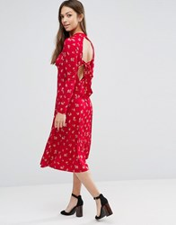 Asos Midi Skater Dress In Ditsy Floral With Open Back Multi