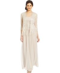 Patra Crocheted Sleeveless Gown And Jacket Oyster
