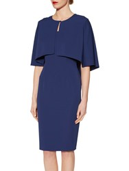 Gina Bacconi Moss Crepe Cape Jacket And Dress Navy