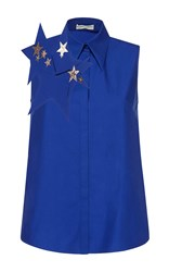 Delpozo Sleeveless Collared Blouse Blue