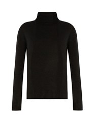 Anthony Vaccarello Roll Neck Cashmere And Wool Blend Sweater Black