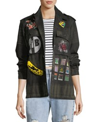 Libertine Crystal Collage Beaded Army Jacket Multi