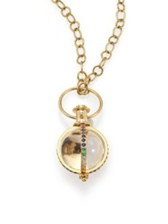 Temple St. Clair Celestial Rock Crystal Multicolor Sapphire Diamond And 18K Yellow Gold Classic Amulet