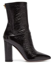 Valentino Ringstud Creased Patent Leather Ankle Boots Black