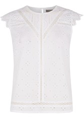 Oasis Cotton Broiderie Shell Top White