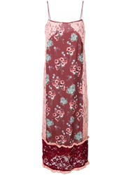 I'm Isola Marras Floral Print Lace Panel Shift Dress Red