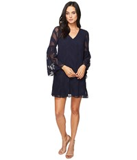 Donna Morgan Bell Sleeve Chiffon Jacquard Tent Dress Marine Navy Women's Dress