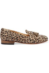 Dieppa Restrepo Tasseled Leopard Print Leather Slippers Animal Print