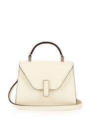Valextra Iside Micro Grained Leather Cross Body Bag White