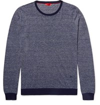 Isaia Striped Cotton And Linen Blend Sweater Navy