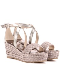 Jimmy Choo Portia 70 Wedge Sandals Metallic