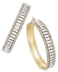 Thalia Sodi Gold Tone White Bead And Pave Mesh Hoop Earrings Only At Macy's