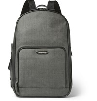 Ermenegildo Zegna Herringbone Coated Canvas Backpack Gray