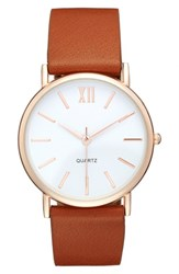Women's Bp. Round Faux Leather Strap Watch 37Mm Cognac Rose Gold