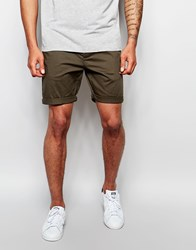 Asos Slim Chino Shorts In Forest Green Forestnight