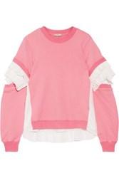 Clu Plisse Tulle Paneled French Cotton Terry Sweatshirt Pink