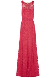 Marchesa Notte Tulle Paneled Metallic Guipure Lace Gown Fuchsia