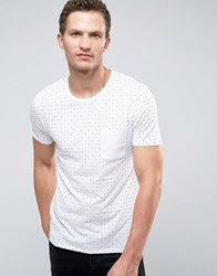 Selected Homme T Shirt In Print With Contrast Pocket White