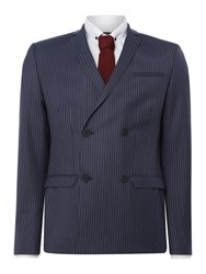 Label Lab Men's Iggy Pinstripe Double Breasted Skinny Suit Jacket Navy