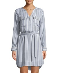 Dex Retro Stripe Long Sleeve Dress Blue