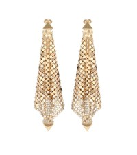 Paco Rabanne Crystal Embellished Mesh Earrings Gold