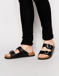 Asos Sandals In Black With Buckle Black Cork