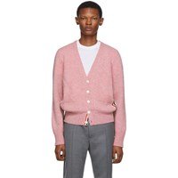 Thom Browne Pink Stripe Relaxed Fit V Neck Cardigan
