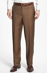 Men's Santorelli Flat Front Wool Trousers Tobacco