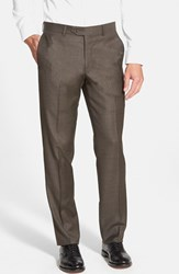 Men's Big And Tall Nordstrom Flat Front Solid Wool Trousers Brown