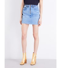 Sandro Frayed High Rise Denim Skirt Blue Vintage Denim