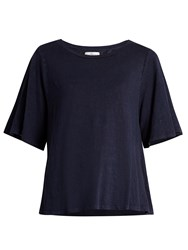 Velvet By Graham And Spencer Marina Linen Blend Burnout Jersey T Shirt Navy